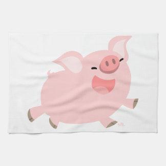 Serviette de cuisine gaie mignonne de porc de band serviettes pour les mains