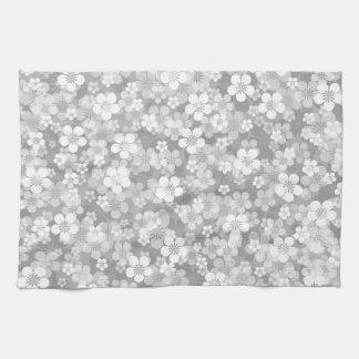 Serviette de cuisine grise de motif de fleur serviette pour les mains