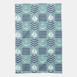 Serviette de cuisine nautique d'édredon serviette éponge