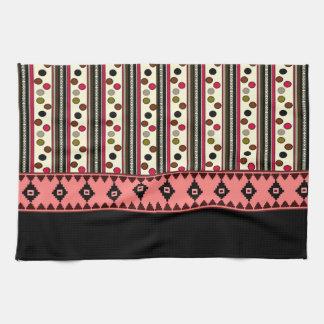 serviette de cuisine noire aztèque de pokeadots serviette éponge