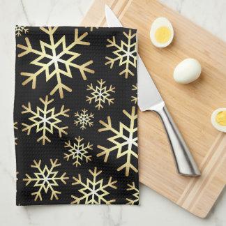Serviette de cuisine noire de flocon de neige de linge de cuisine