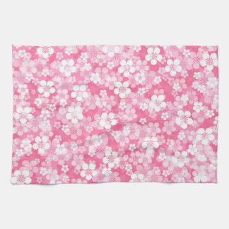 Serviette de cuisine rose de motif de fleur serviettes éponge