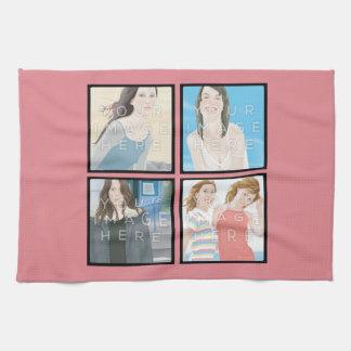 Serviette de cuisine rose personnalisée par serviette éponge