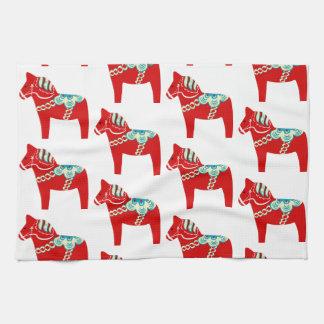 Serviette de cuisine rouge de cheval de Dala