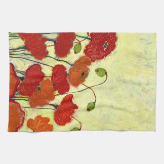 Serviette de cuisine rouge de floraison désireuse  serviettes pour les mains