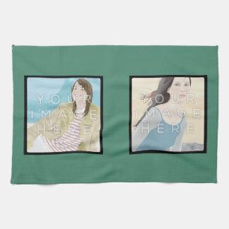 Serviette de cuisine verte personnalisée par serviette éponge