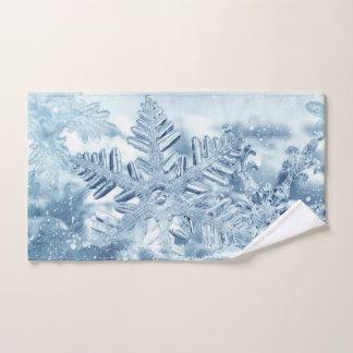 Serviette de main de cristaux de flocon de neige