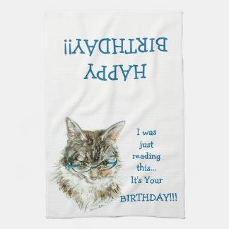 Serviette de main de JOYEUX anniversaire de chat Serviette Éponge