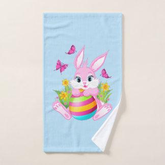 Serviette de main rose de lapin de Pâques