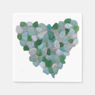 Serviette de papier de coeur en verre de mer serviette en papier