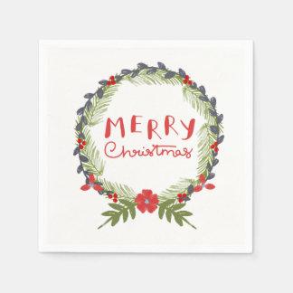 Serviette de papier de guirlande florale de Noël Serviette Jetable