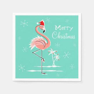 Serviette de papier de Joyeux Noël de flamant de Serviette Jetable
