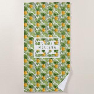Serviette De Plage Ajoutez vos palmettes et ananas | tropicaux nommés