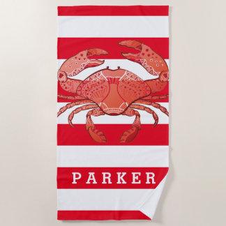 Serviette De Plage Ajoutez votre crabe nommé de style de |