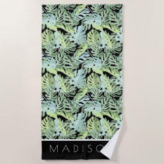 Serviette De Plage Ajoutez votre motif floral de jungle nommée de |