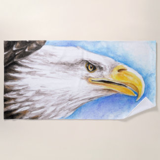 Serviette De Plage Aquarelle d'Eagle chauve