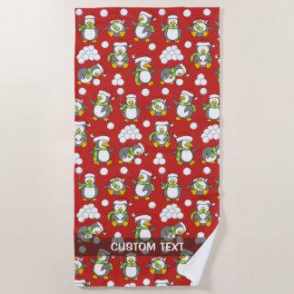 Serviette De Plage Arrière - plan de pingouins de Noël
