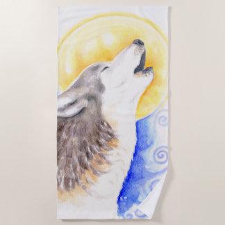 Serviette De Plage Art d'aquarelle de lune de loup d'hurlement