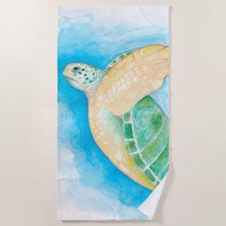 Serviette De Plage Art d'aquarelle de tortue de mer verte