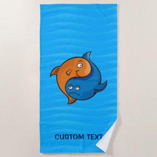 Serviette De Plage Bande dessinée de poissons de Yin Yang