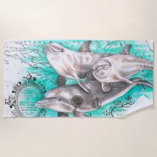 Serviette De Plage Carte antique Teal de cosse de dauphin