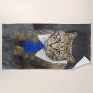 Serviette De Plage Chat tigré brun aux yeux verts mignon portant une