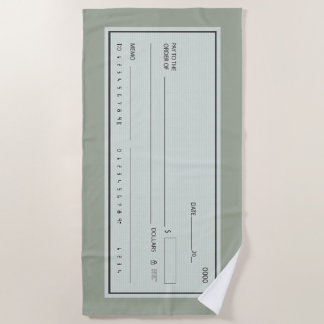 Serviette De Plage Chèque en blanc pour le déplacement
