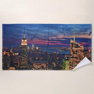 Serviette De Plage Ciel bleu rose de l'Empire State Building WTC