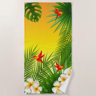 Serviette De Plage Conception tropicale exotique de colibri