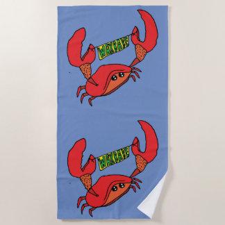 Serviette de plage de logo de bannière de crabe de