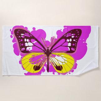 Serviette de plage de papillon de rose d'art de