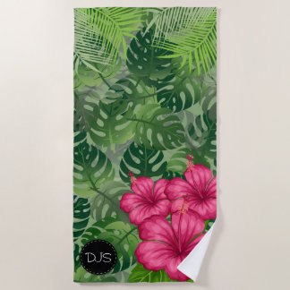 Serviette De Plage Fleurs et palmettes tropicales exotiques
