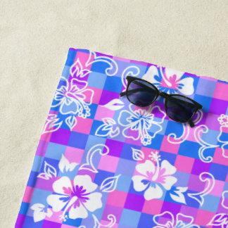 Serviette De Plage Floral hawaïen de ketmie de damier - bigorneau