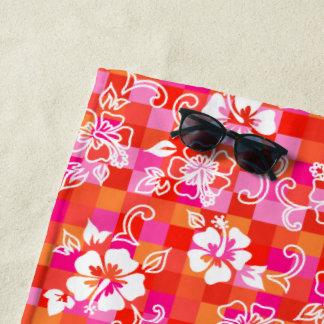 Serviette De Plage Floral hawaïen de ketmie de damier - rouge