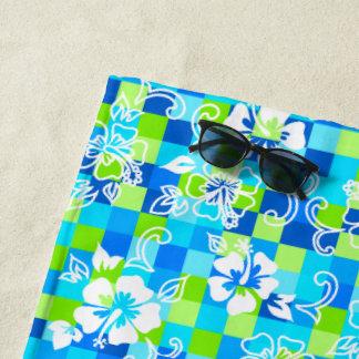 Serviette De Plage Floral hawaïen de ketmie de damier - turquoise