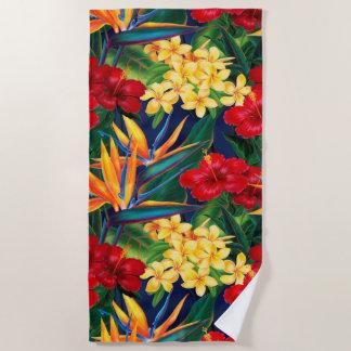 Serviette De Plage Floral hawaïen de paradis tropical