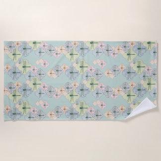 Serviette De Plage Illustration côtière bleue de motif en pastel de