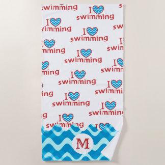 Serviette De Plage J'aime (coeur) nager - monogramme