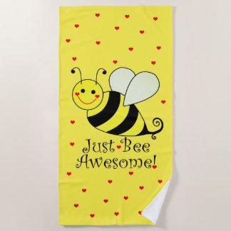 Serviette De Plage Juste le jaune mignon impressionnant d'abeille