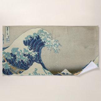 Serviette De Plage La grande vague par Hokusai, art japonais vintage
