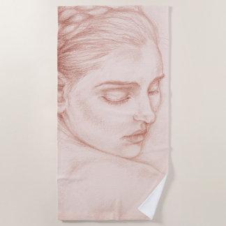 Serviette De Plage Madame victorienne Drawing Portrait