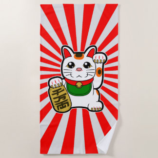Serviette De Plage Maneki Neko : Chat chanceux japonais