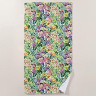 Serviette De Plage Motif de floraison exotique de cactus d'aquarelle