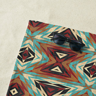 Serviette De Plage Motif de mosaïque tribal orange de vert bleu de