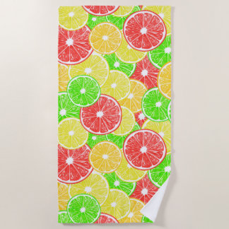 Serviette De Plage Motif de tranches de citron, d'orange, de