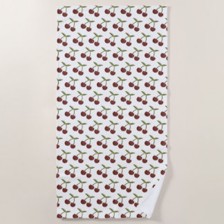 Serviette De Plage Motif illustré par cerise vintage sur le blanc