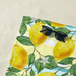 Serviette De Plage Motif tropical de fruit de citrons d'été de hanche