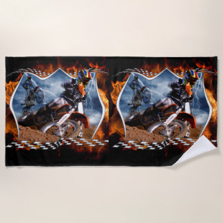 Serviette De Plage Motocross emballant par la foudre et le feu