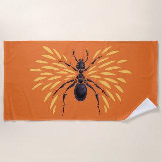 Serviette De Plage Orange à ailes de fourmi ardemment