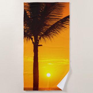 Serviette De Plage Palmier et coucher du soleil